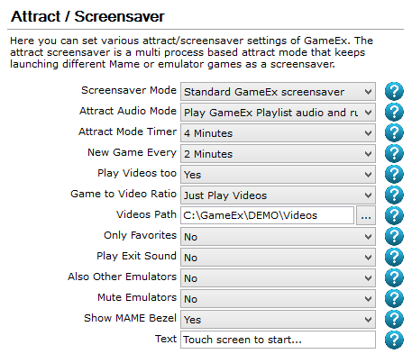 GameEx:Attract / Screensaver (Setup Wizard) - Spesoft/GameEx