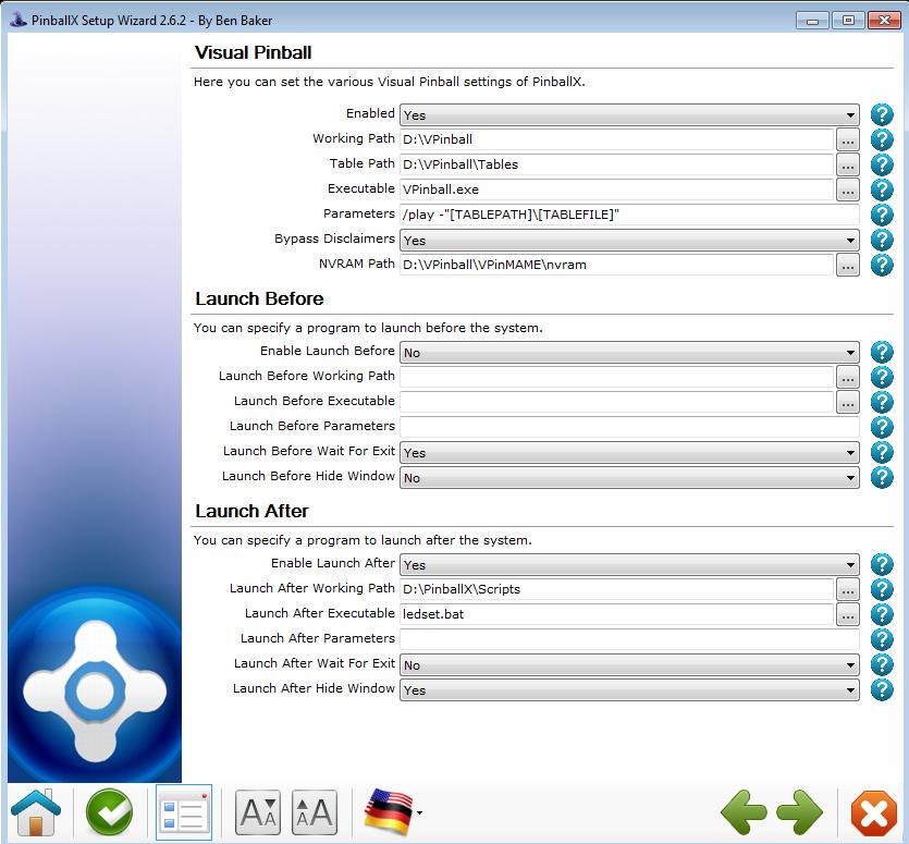 PinballX:Visual Pinball Settings (Setup Wizard) - Spesoft